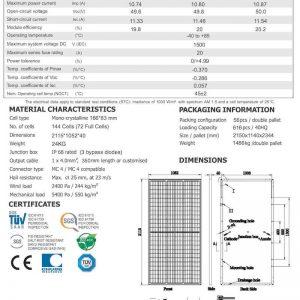 Thông số kỹ thuật tấm pin AE 450 Wp